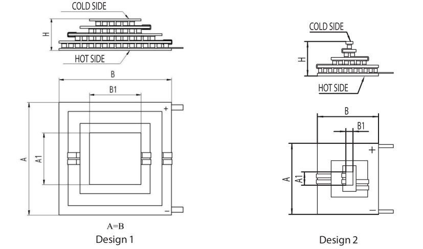 Designs of 4-stage thermoelectric modules