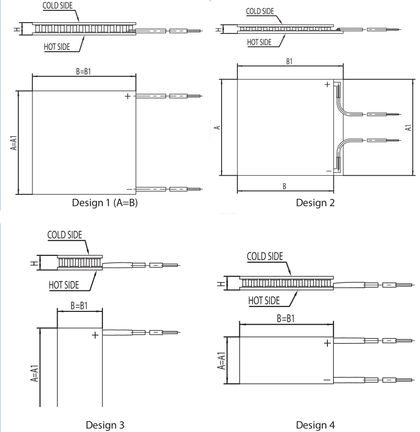 Designs of single stage thermoelectric coolers